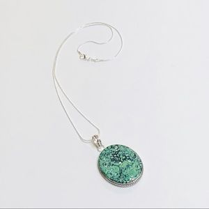 Speckled Matte Mint, White & Forest Green Pendant